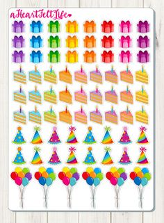 Birthday Party Planner Stickers, Erin Condren Planner Stickers, Filofax, Kikki K, Scrapbook Stickers, Calendar Stickers, etc.