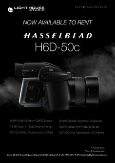 "Product Highlights    50MP 43.8 x 32.9mm CMOS Sensor 16-Bit Color, 14-Stop Dynamic Range Hasselblad Natural Color Solution Full HD 1080p RAW Video at 30 fps ISO 100-6400, Shooting Up to 2.3 fps Shutter Speeds: 60 min to 1/2000 sec 3.0"" 920k-Dot Touchscreen LCD Monitor Dual CFast and SD Memory Card Slots Built-In Wi-Fi, USB 3.0 Type-C Includes Body, Back, HVD 90x Viewfinder   For rental enquiries, Email us on: info@lighthouse.ae or Call us on: +9714 341 9697 Dynamic Range, 16 Bit, Lcd Monitor, Shutter Speed, Hd 1080p, Wi Fi, Accessories, Ornament"