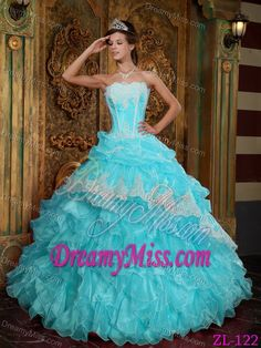 Blue Strapless Sweet Sixteen Quinceanera Dress with Ruffles on Sale