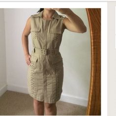 Laundry Shelli Segel Tan Safari Dress Laundry by Shelli Segel Tan Safari Dress. Great details, slight gold iridescence, great condition. Laundry by Shelli Segal Dresses