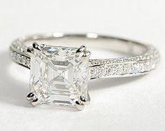 Asscher Cut Heirloom Micropavé Diamond Engagement Ring in Platinum