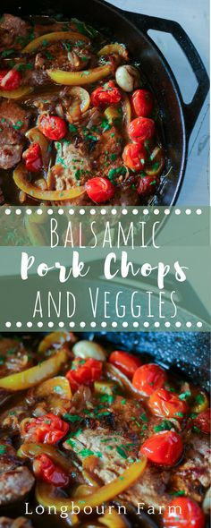 Balsamic pork chops are a quick one-pan meal that is packed with flavor and color! This family friendly main dish paris well with any side, it's delicious!