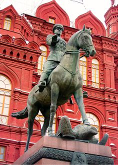 Marshal of the Soviet Union Georgi Zhukov, hero of a statue outside the Kremlin in Moscow, Russia by Alexandra Currie Russian Architecture, Art And Architecture, Masonic Art, Sculpture Art, Bronze Sculpture, Red Army, Soviet Union, Military Art, Black Magic