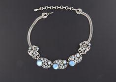 Vintage Selro Selini Silver Tone Chunky Necklace Blue Rhinestones Cabochons…