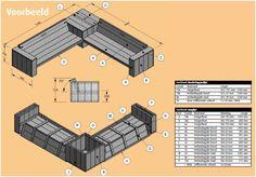 bouwtekening steigerhout loungeset - Google zoeken Diy Furniture Couch, Outdoor Furniture Plans, Diy Sofa, Pallet Furniture, Garden Furniture, Outdoor Couch, Outdoor Lounge, Outdoor Living, Diy Wooden Projects