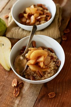 A simple, hearty bowl of steel cut oats topped with caramelized brown sugar pears and pecans. @MinimalistBaker