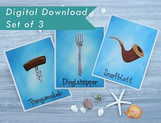 Little Mermaid Art Downloads / Dinglehopper, Snarfblatt, Thingamabob Art Prints / Set of 3 Print Files / Disney Nursery / Ariel Artwork