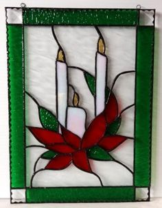 3 Candles Stained Glass Small Panel by creativeglassarts for $30.00