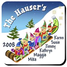 """Elves Family Personalized Christmas Coaster Set. All of Santa's Elves will appreciate this set of four vibrant, waterproof coasters. Personalized design is printed in full color onto a non-skid cork base. Includes 4 coasters and mahogany caddy for storage. Each coaster measures 3.75"""" x 3.75"""". Specify design, family size, names (up to 7 characters per name) and year."""