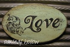 Primitive Valentine Love Magnet Wood Shabby Chic by OakleafHollow, $8.95