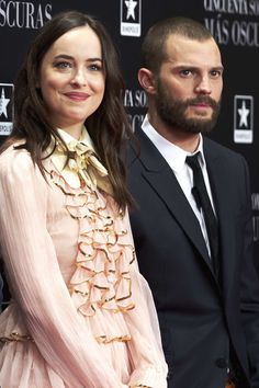 Actress Dakota Johnson and actor Jamie Dornan attend 'Fifty Shades Darker' (Cincuenta Sombras Mas Oscuras) premiere at the Kinepolis cinema on February 8, 2017 in Madrid, Spain.