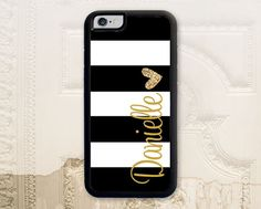 Black striped monogram cell phone case iPhone by LilStinkerDesign