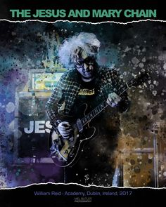 Stylised digital art of William Reid. The Jesus And Mary Chain.  Mel Butler