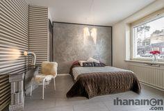 Ihanainen.com sisustussuunnittelu. Sotanpesä-kodin makuuhuone. #bedroom #makuuhuone #sisustus #sisustussuunnittelu #tampere