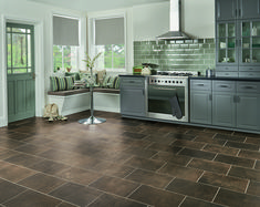 Eisen is one of a group of tiles originally inspired by weathered steel yet its blend of dark tones and subtle patterning allow it to masquerade as a number of natural materials, providing you with a floor that can blend seamlessly into any décor.  Order your #free samples today! Natural Flooring, Stone Flooring, Flooring Ideas, Vinyl Flooring Kitchen, Luxury Vinyl Flooring, Living Room Inspiration, Bathroom Inspiration, Karndean Flooring, Modern Farmhouse Kitchens