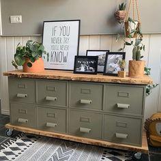 """Heel veel DIY Plezier! on Instagram: """"INSPIRATIE   Vrijdag betekent een toffe inspiratie foto! Dit keer een leuke DIY. Deze kast hebben wij gemaakt van oude archief kastjes. Een…"""" Living Room Interior, Buffet, Diys, Cabinet, Storage, Furniture, Instagram, Home Decor, Clothes Stand"""
