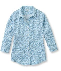 Wrinkle-Resistant Pinpoint Oxford Shirt, Three-Quarter Sleeve Floral