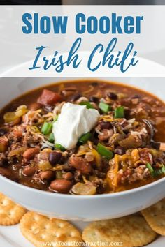 Irish Chili is spiked with Guinness beer and smoky spices for a filling dinner. Made in the slow cooker, it is hand's off and makes the perfect freezer meal. Instant Pot instructions included, too. Slow Cooker Casserole, Slow Cooker Pasta, Slow Cooker Recipes, Crockpot Recipes, Chicken Recipes, Easy Recipes, Dinner Recipes, Slow Cooker Black Beans, Slow Cooker Breakfast