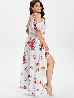 d82915f10a5 Women Summer Plus Size 5XL Cold Shoulder Floral Overlap Dress Spaghetti  Strap Half Sleeves Floral Print