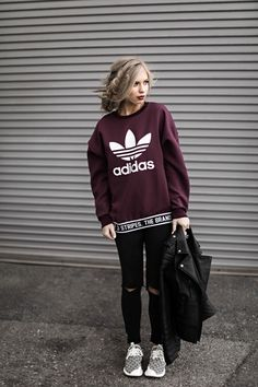jessakae, adidas, distressed jeans, leather jacket, blonde hair, updo, street style, style, fashion, womens fashion