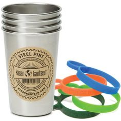 Klean Kanteen Stainless Steel Pint Cup Pack Of 4 Stainless 16Ounce with 4 MultiColor Silicone Pint Cup Rings >>> Want to know more, click on the image.