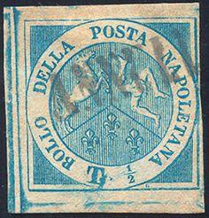 """Early States Naples 1860 - 1/2 tornese azzurro Trinacria (15), usato con il bollo """"ANNULLATO"""", senza cartiglio, perfetto. L.Raybaudi, cert. storico (1939) di Emilio Diena."""