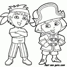 Printable Dora the Explorer and Diego dressed as pirate coloring pages - Printable Coloring Pages For Kids
