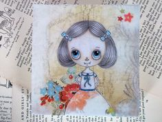 Vampire Cute Girl Original Artwork On Wood Block by LittleNore, £40.00