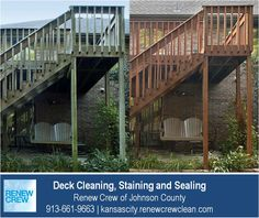 http://kansascity.renewcrewclean.com – After cleaning your deck, we stain and seal it for protection. Deck stains are available in many colors. In this before and after picture, the deck stain is darker to match the brick. We serve Kansas City plus Johnson County KS including Overland Park, Olathe, Shawnee, Lenexa and Leawood. Free estimates.