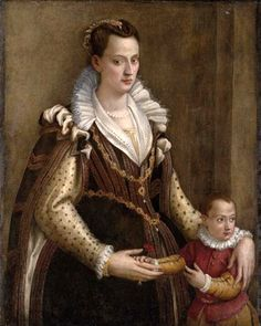 Lady with a child, traditionally identified as Eleonora de' Medici, Duchess of Mantua with her son Francesco IV attributed to Lavinia Fontana (auctioned by Dorotheum) | Grand Ladies | gogm