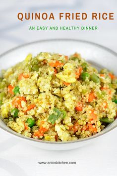 Quinoa fried rice: 1/2 cup uncooked quinoa 1 cup water 1/2 tsp salt 1/2 cup carrots 1/2 cup peas 1/2 cup snap beans 2 eggs 1 tbps soy sauce 1/2 tsp garlic tbsp oil pepper to taste
