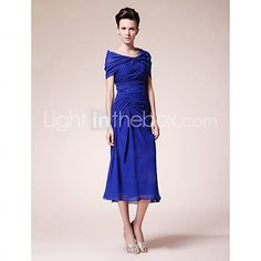 Sheath/ Column Sweetheart Tea-length Chiffon Mother of the Bride Dress With A Wrap - USD $ 128.69