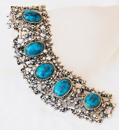 Ornate Vintage Chunky Turquoise Silver Bracelet