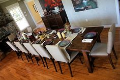 8 ft + 4 ft Farmhouse Dining Tables put together...talk about having company over for dinner!