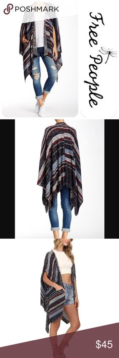 """FREE PEOPLE """"Big Trail"""" Knitted Poncho This FP Poncho is a must have! It's super versatile and can be worn in practically every season! Beautiful mix of fall colors. Pockets on each side. Very thick knitting and amazing quality. Size M. New condition..never worn. I'm always open to offers & bundles! Free People Sweaters Shrugs & Ponchos"""