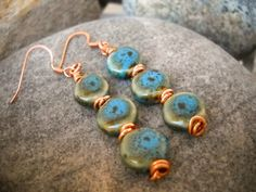Boho Style Blue Ceramic and Copper Earrings by Beads4You2008 on Etsy
