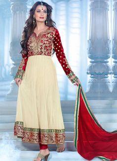 #DiaMirza Cream Net Velvet #Anarkali #Suit With Sensational #Embroidery Work
