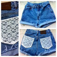 Custom Vintage High Waisted Shorts Lace Pockets by DrewBunyi, $21.00