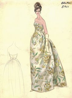 Balmain Haute Couture fashion illustration. Strapless evening ball gown in flower floral patterned print with bow at the back of the dress. Includes back views in pencil. Bergdorf Goodman 1950s #Collection #Balmain #Fashion