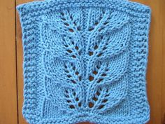 Ravelry- Leaf wash cloth pattern by SmarieK.  Made a scarf just like this pattern that's sitting in my car!