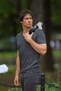 "Ian Somerhalder films ""The Climate Reality Project"" in Washington Square Park in New York (August 23, 2014)"