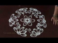 very simple & easy flower kolam designs with 7 to 4 middle dots * easy muggulu rangoli - YouTube