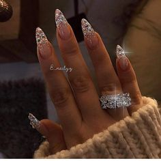 nail art designs with glitter ~ nail art designs ; nail art designs for winter ; nail art designs for spring ; nail art designs with glitter ; nail art designs with rhinestones Glam Nails, Fancy Nails, Bling Nails, Nude Nails, Glitter Tip Nails, Sparkly Nails, White Acrylic Nails With Glitter, Classy Nails, Bling Bling