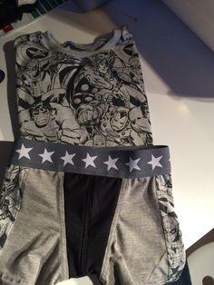 Recyclage du tee-shirt du papa pour faire un tee-shirt et un boxer pour le fiston ;) couture