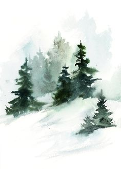 Pine landscape painting, winter landscape original watercolor painting, snowy nature painting by CanotStop - artist - Art - Pine landscape painting winter landscape original watercolor painting snow covered nature painting - Pine Tree Painting, Painting Snow, Autumn Painting, Pine Tree Art, Tree Tree, China Painting, Painting Art, Painting Prints, Watercolor Trees