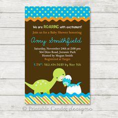 Mod Dinosaur Baby Shower Invitation - DIY Custom Printable on Etsy, $10.00