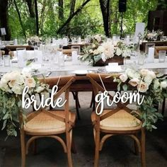 """Sale Bride and Groom Chair Sign. Wedding Reception Chair Signs Set Wedding Signs… Sale Bride and Groom Chair Sign. Wedding Reception Chair Signs Set Wedding Signs – Please Send your phone number in the """"NOTE to the seller"""" Wedding Reception Chairs, Wedding Chair Signs, Wedding Chair Decorations, Wedding Receptions, Wedding Centerpieces, Reception Ideas, Reception Signs, Yacht Wedding, Wedding Bride"""