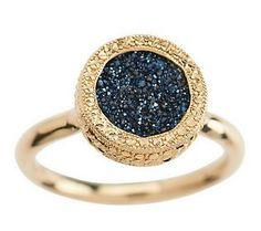 Round Solitaire Drusy Quartz Ring              14K Gold