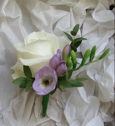 ivory and lilac buttonhole