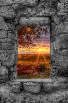 A Kansas sunset through the window of an abandoned and forgotten limestone house in Ellis County photo: Thomas Zimmerman on FineArtAmerica Beautiful World, Beautiful Places, Simply Beautiful, Beautiful Scenery, Wonderful Places, Absolutely Gorgeous, Amazing Photography, Nature Photography, Photography Hacks